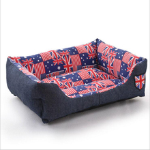 Europe Style Pet Dog Beds Jean Canvas Rectangle Pet Kennel Soft Warm Sofa Dog Cushion Cat Mat Size S-L Cama Perro For Small Pets