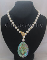 23inch 11 12mm white round Freshwater Pearl necklace Abalone shell pendant
