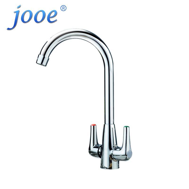 jooe Kitchen Faucet Brass Chrome Hot And Cold 360 Degrees Rotation Mixer Water Tap Dual Holder