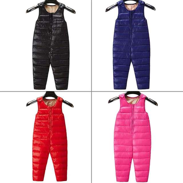 New Fashion 3 Colors Baby Boys Girls Thick Winter Keep Warm Duck Down Sleeveless Jumpsuits Child Clothing Coat Set Snowsuit