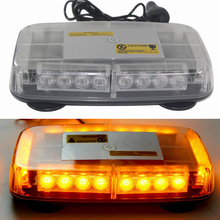 цена на 24W Car LED Light Strobe Warning Light for 12V Automobiles Police Flashing Light Bar with Magnetic Base Yellow