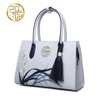 Famous brand superiore del Cuoio Della Mucca Sacchetto del Messaggero della spalla di modo delle donne del sacchetto 2016 Cina Vento Squisito ricamo borsa