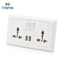 цена на Cognag BS UK 13A dual USB wall outlet universal multi socket 2 USB Charging Port Output 5V 2100mA