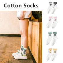 Assorted Colors Ankle High Short Letter Printed Breathable All Match Women Socks Athlete Sports Adult Soft Elastic