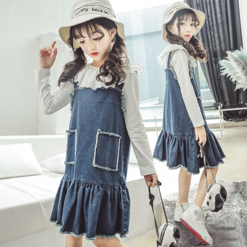 Clothes Set For Kids Girls Baby Girl Fall Clothes 2018 New Fashion Children Clothing Long Sleeve Shirt + Jeans Overalls 10 12 13 2018 kids girls clothes set baby girl summer short sleeve print t shirt hole pant leggings 2pcs outfit children clothing set