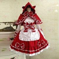 Victorian Lady костюм Симпатичные японские принцессы Костюмы Lolita девушка Для женщин Сладкий Kawaii Классический готический Хэллоуин Пром Платье для