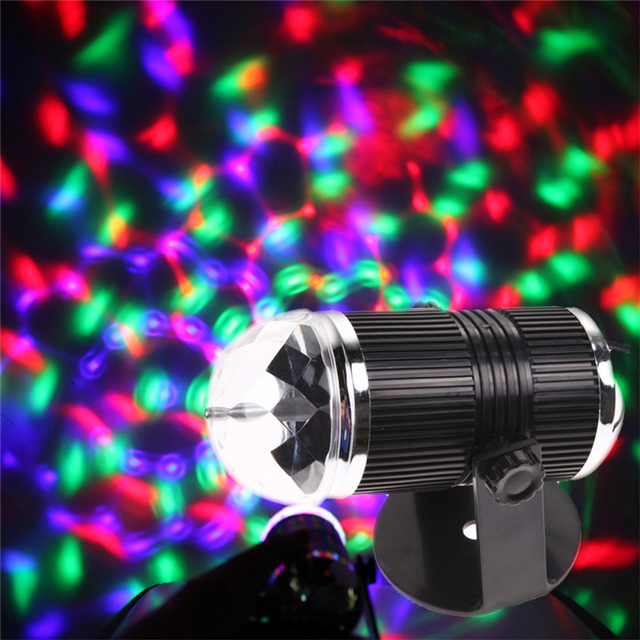 Hot Sale EU/US Plug 3W LED RGB Stage Light Auto Rotating Crystal Laser Disco DJ Lamp Voice Activate Party Light Rainbow Color