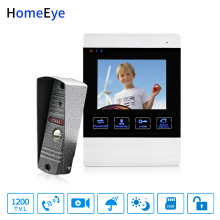HomeEye Video Door Phone Video Intercom Doorbell 1200TVL Camera 4 inch Monitor  Video Record Unlock Door Security Access System free shipping 7 monitor video door phone doorbell intercom system fingerprint code keypad access door camera magnetic lock