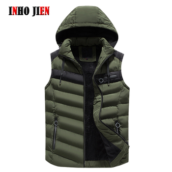 Vest Men New Stylish Autumn Winter Warm Sleeveless Jacket Army Green Waistcoat Fleece Men's Vests Contrast Color Hooded Coat Man