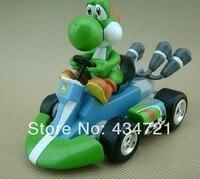 Classic Game Nintendo Super Mario Bros Yoshi Pull Back Kart PVC Figure Toys Spring Back Cars