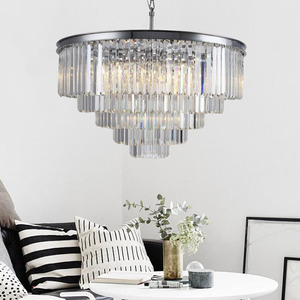 Image 3 - American Multi layer Crystal chandeliers light Hanging Light LED Chrome body Round  Living Room Sitting Retro Dining chandelier