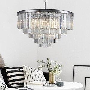 Image 3 - Amerikanischen Multi schicht Kristall kronleuchter licht Hängen Licht LED Chrome körper Runde Wohnzimmer Sitzen Retro Esszimmer kronleuchter