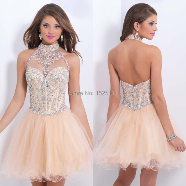09c40a3b7f1 Halter Short Champagne Prom Dress 2015 Beaded Sexy Backless Tulle Mini Teen  Dress to Party Ballgown vestido de festa curto