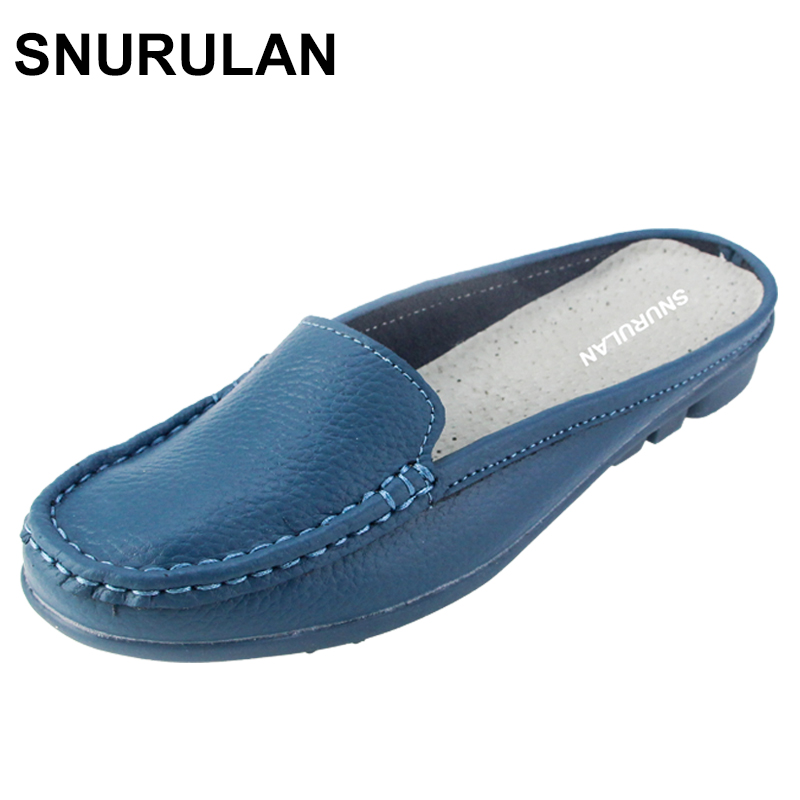 SNURULAN Women Slippers summer half slippers flip flops Genuine Leather sandals clogs Shoes Woman Plus Size 35-41 summer women casual jelly shoes beach slippers breathable waterproof clogs for women hollow slippers flip flops shoes mule clogs
