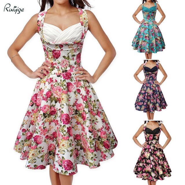 2017 RUIYIGE Audrey Hepburn 60s Vintage Big Swing Rockabilly Party Dress Women Summer Sexy Sleeveless Floral Print Dresses 00831