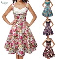 2017 ruiyige audrey hepburn 60 s rockabilly vintage swing grande party dress verano de las mujeres sexy sin mangas vestidos estampados florales 00831