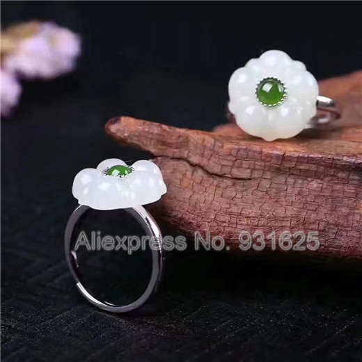 Jewelry & Accessories Apprehensive 925 Silver Natural Green White Hetian Yu Ring Adjustable Flower Design Lucky Ring Certificate Fashion Womans Jewelry Driving A Roaring Trade Engagement Rings