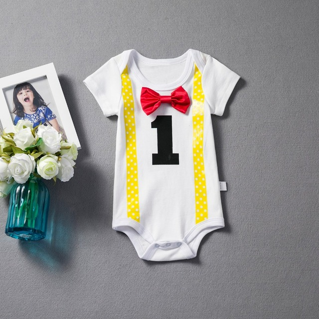 9d161f290887 Baby Boy 1st Birthday Romper Toddler Boys Clothes Infant Summer ...