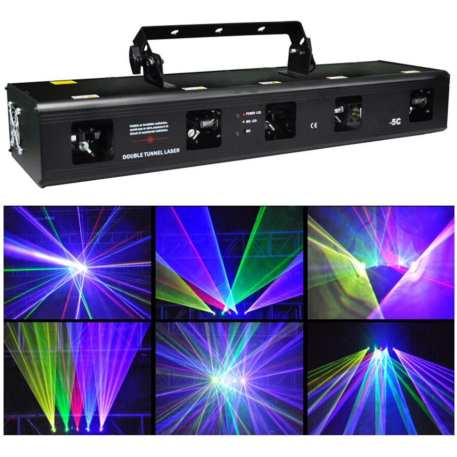 DHL RGBPY 900mw rouge vert bleu violet jaune cinq Tunnel Laser faisceau DJ lumière Disco scène éclairage