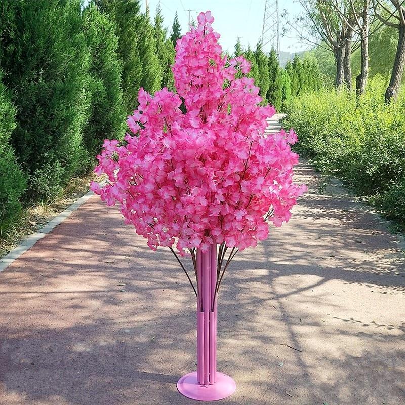 Nueva llegada flores de cerezo árbol camino lleva boda camino pasillo columna centros de compras abierto puerta decoración Stands - 6
