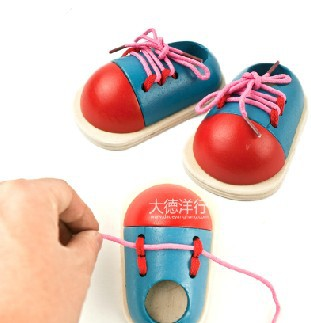 children educational wooden toys tie my shoe baby lacing shoes early development small 1 pair in gags practical jokes from toys hobbies on