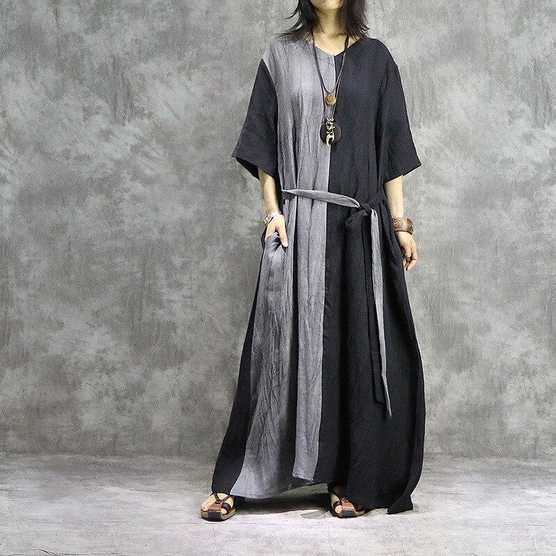 New Style Original Literary Cotton Linen V neck Stitching Women Dress Summer Plus Size Loose Female