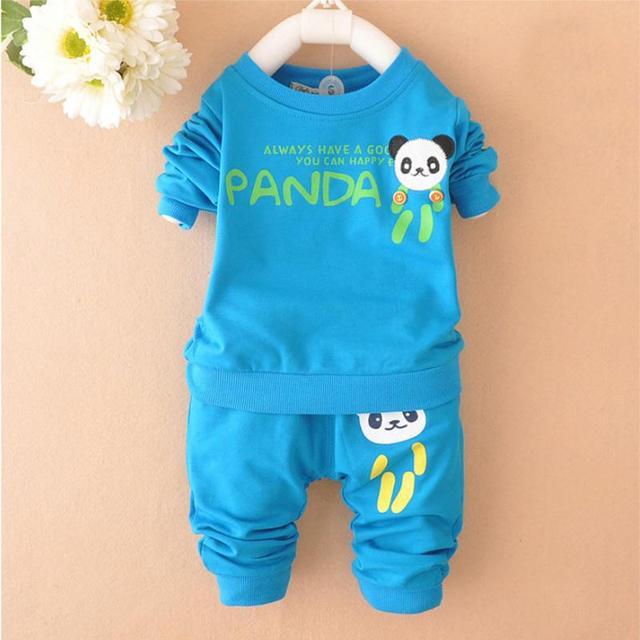 Espesar Lindo Panda Bebé de la Ropa Del Niño Recién Nacido Bebes Sport Suit 2 UNIDS Establece Niñas Ropa de Primavera y Otoño conjunto infantil menina