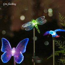 RGB LED Solar Garden Light Outdoor Waterproof For Garden Decoration Butterfly Bird Dragonfly Modern path Lawn Solar Lamp Decor(China)