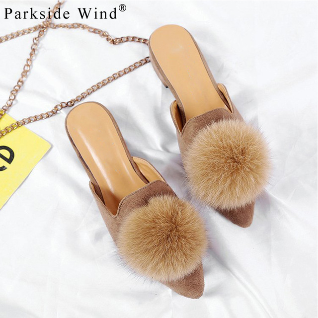 Parkside Wind Flock Women Flats Shoes Pompom Faux Fur Pointed Toe Women Slippers Summer Slip On Mules Ladies Shoes XWA0935-4.5 faux fur trim loafer mules