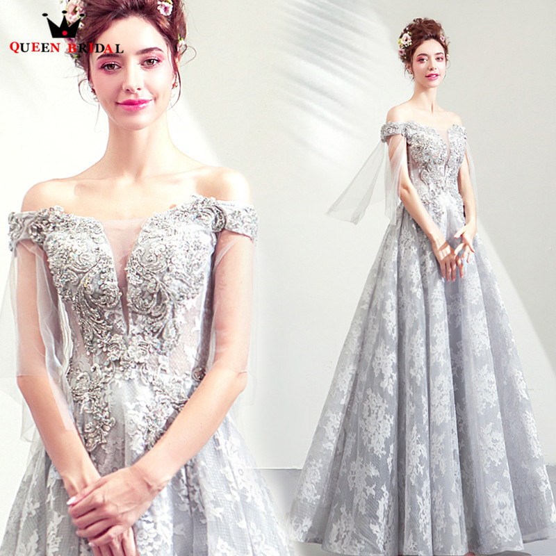 Gray Long Evening Dresses 2019 New Arrival A line Boat Neck Tulle Prom Gowns Vestido De