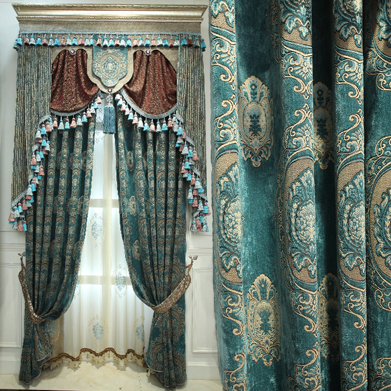 Custom curtains luxury American chenille Jacquard embroidered yarn green thick cloth blackout curtain tulle valance drapes N474 window valance