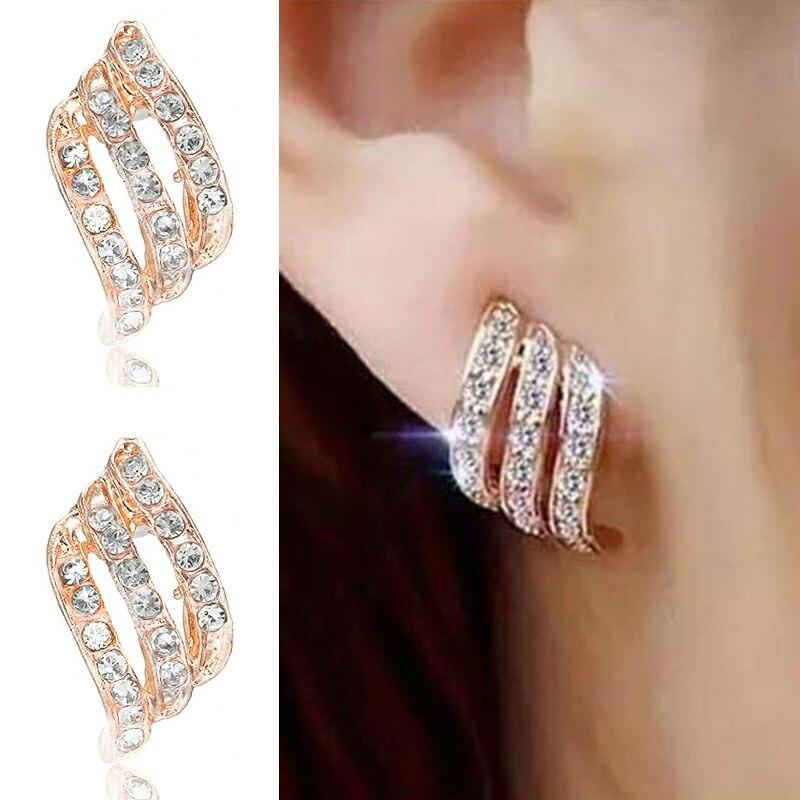 Crystal Flower Drop Earrings for Women Fashion Jewelry Gold Silver Rhinestones Earrings Modern Jewelry Gift