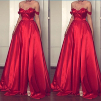 Charming Red Prom Gowns Off The Shoulder Lace Satin Evening Gowns A Line Split Front Long Formal Party Dress Custom Made Dresses
