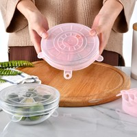 6 teile/satz Silikon Deckel Durable Reusable Lebensmittel Sparen Abdeckung Wärme Wider Passt Alle Größen Küche Lebensmittel Frisch halten Deckel|Manuelle Entsafter|Heim und Garten -