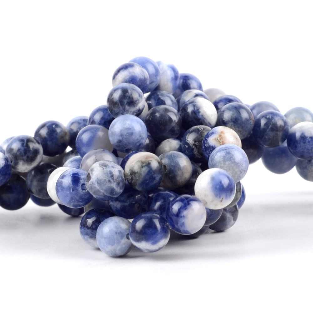 Natürliche Steine Mineralien Neue Blau Sodalith Runde Lose Perlen Für Schmuck Machen 4 6 8 10 12mm Edelstein Ball perlen Zubehör 15 zoll