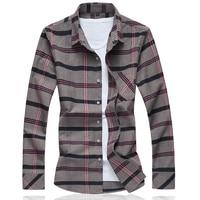 MarKyi 2019 Plus Size 6XL Plaid Cotton Casual Men Shirt Social Brand Men Clothes Slim Fit Men Long Sleeve Shirt Men