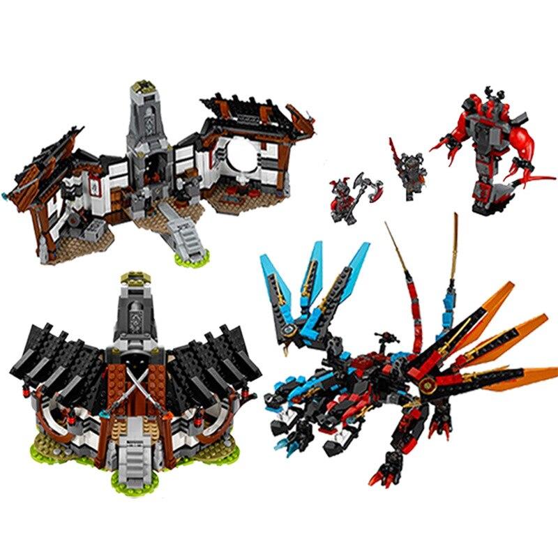 1157 pièces Ninjago Double élément série Dragon mystère modèle blocs de construction garde Compatible LegoINGyS Ninjagoed arc balles de feu
