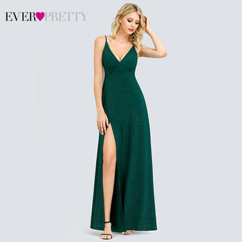 Sexy Navy Blue Evening Dresses Ever Pretty EP07845 Sexy V-neck Sparkle Leg Slit Long Formal Party Gowns Abendkleider 2020 2