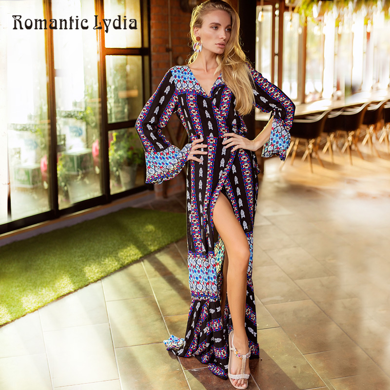 Summer fashion boho chic floral dress women sexy split - Style hippie chic femme ...