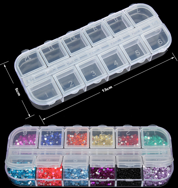 Nail Art Jewelry Beads Craft Container Storage 12 Grids Clear