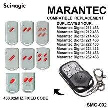 Marantec digital 433.92/211/212/214/221/222/224/382/384/232/fixo transmissor remoto código da porta do garagem