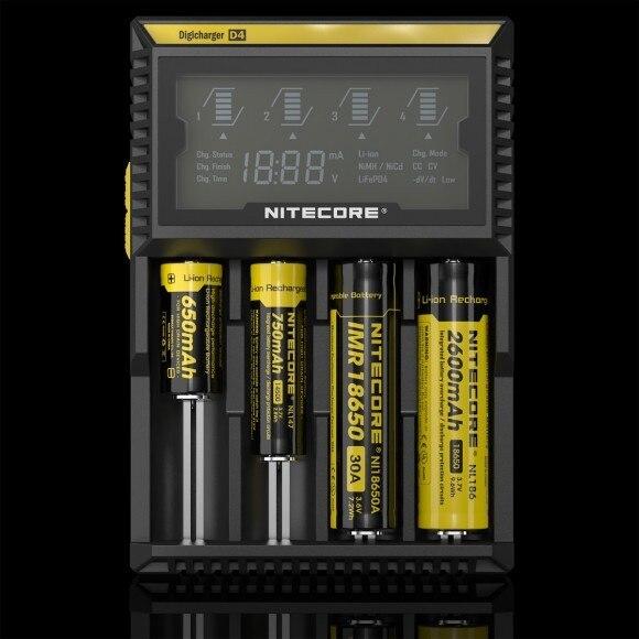 Бесплатная доставка в Исходном Nitecore D4 Digicharger ЖК-Дисплей Зарядное Устройство Интеллектуальное 2.0 Fit Литий-Ионный 18650 14500 16340 26650