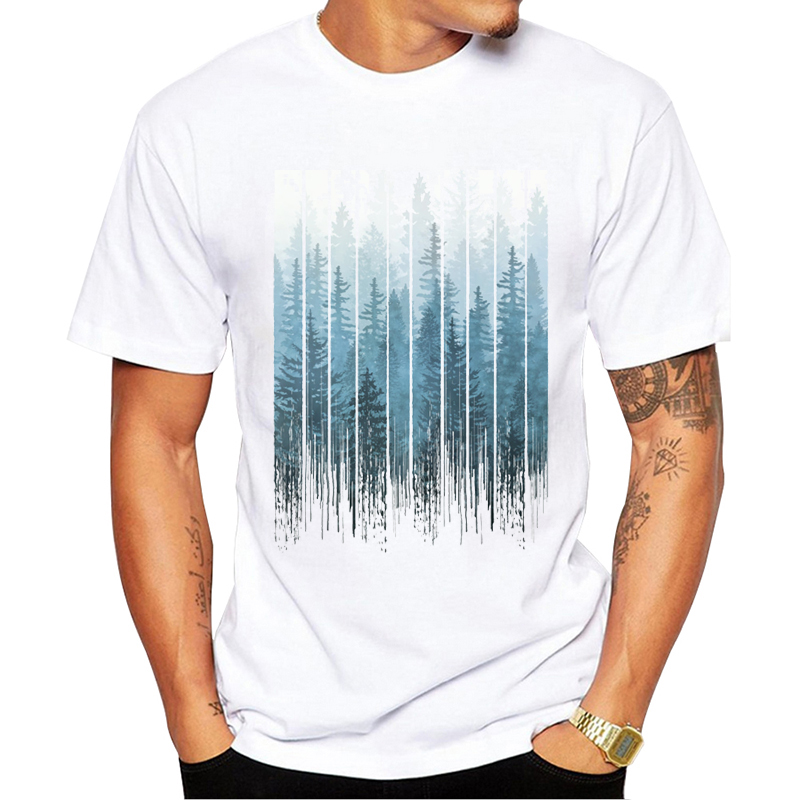 dd32fffc TEEHUB New Arrival 2019 Fashion Grunge Dripping Turquoise Misty Forest  Print Men T-Shirt Short