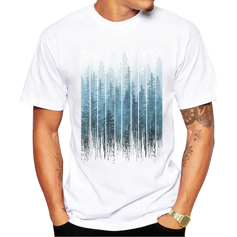 TEEHUB New Arrival 2019 Fashion Grunge Dripping Turquoise Misty Forest Print Men T-Shirt Short Sleeve O-Neck Tops Hipster Tee