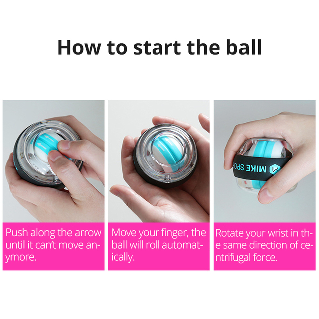 Self-start Wrist Traing Ball with Counter Gyroscope Muscle Trainer with Light Gyro Arm Exerciser Strengthener Wrist Power Ball 6
