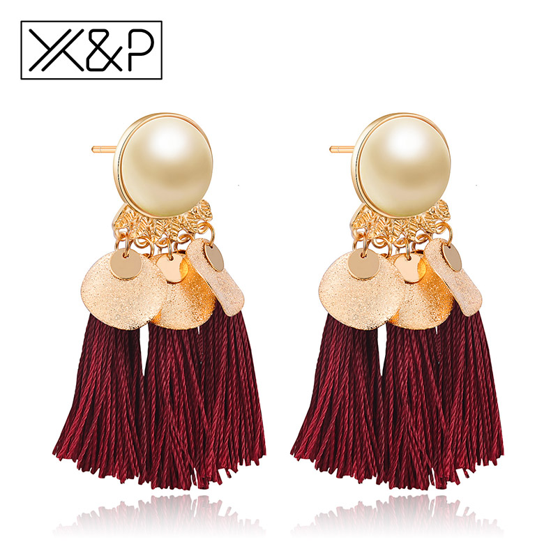X&P Fashion Bohemian Sequins Long Tassel Drop Earrings for Women Girl Acrylic Beads Ethnic Statement Fancy Earring Jewelry