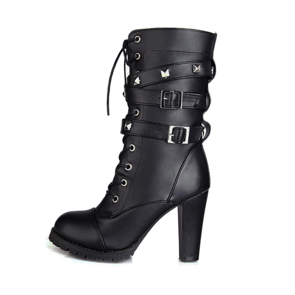shoes Boots Women Ladies Classics Rivet Belt High Heels Mid-Calf Boots Shoes Martin Motorcycle Zip boots women 2018Oct31 24