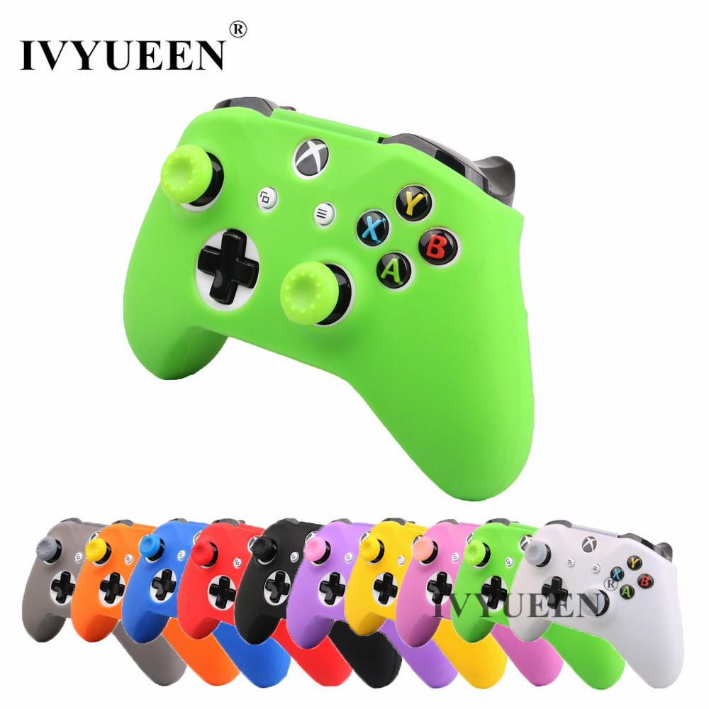 IVYUEEN 16 Colors for XBox One X S Controller Silicone Skin Case + Analog Thumb Stick Grip Cap for X Box One 1 X S Slim Joystick цена и фото