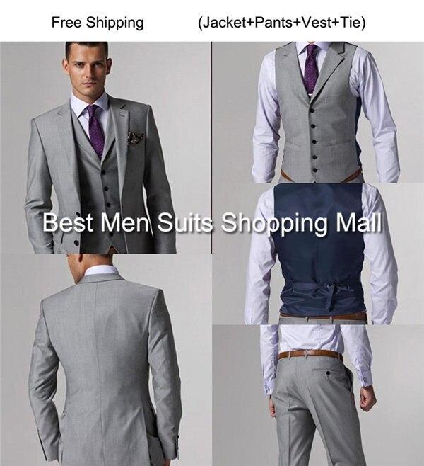 Hombres de lujo italianos gris Trajes chaqueta Pantalones los ...