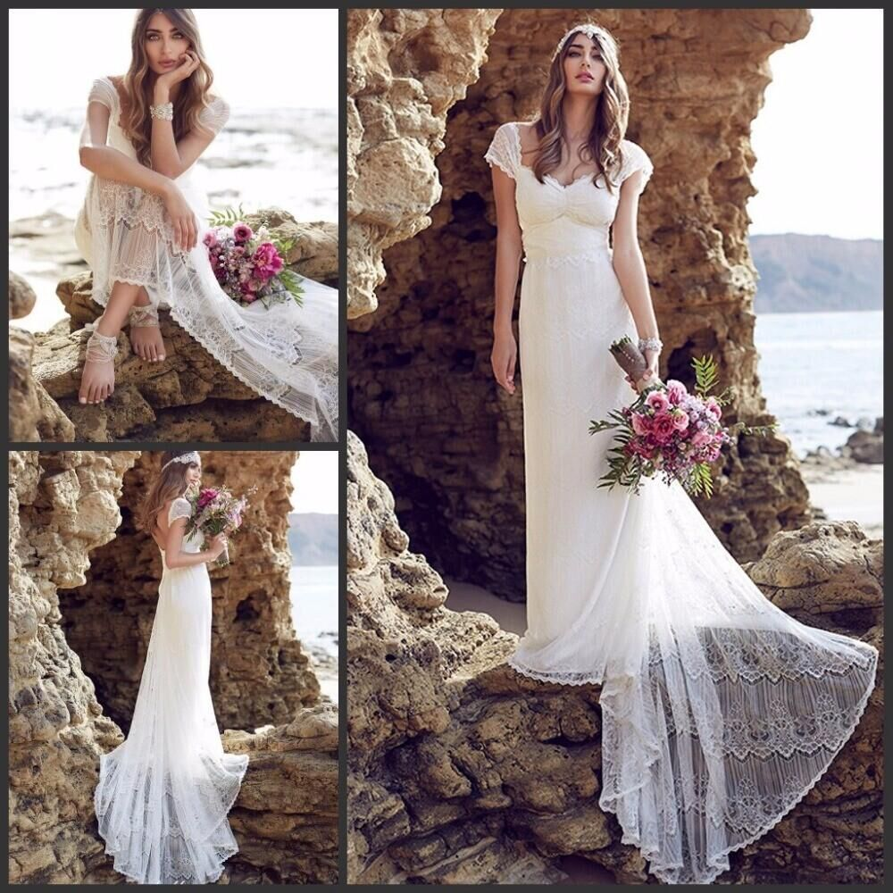 2017 Lace Beach Wedding Dresses Cap Sleeves Low Back